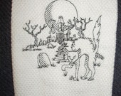 SALE - Machine embroidered hand towel blackwork haunted house and black cat