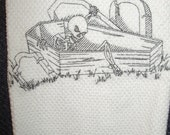 SALE - Machine embroidered hand towel blackwork skeleton in coffin
