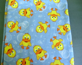 Flannel receiving blanket - ducks and bubbles