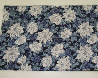 Beautiful blue and silver placemats - quilted - pair
