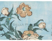 Wooden jigsaw puzzle. FADED POPPIES. Hokusai. Japanese woodblock print. Wood, handcut, handcrafted, collectible. Bella Puzzles.