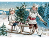Wooden jigsaw puzzle. CHRISTMAS TREE SLED. Vintage illustration. Wood, handcut, handcrafted, collectible. Bella Puzzles.
