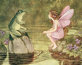 Hand-cut wooden jigsaw puzzle. FROG and FAIRY. Outhwaite. Fairytale gift. Wood, collectible. Bella Puzzles.