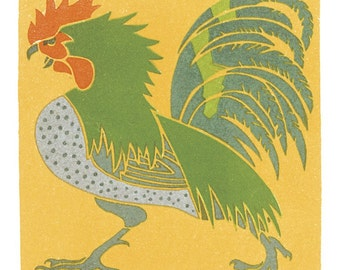 Wooden jigsaw puzzle. ROOSTER. A. Roubille. Art Deco. Wood, handcut, handcrafted, collectible. Bella Puzzles.