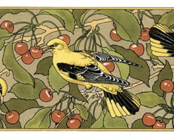 Wooden jigsaw puzzle. YELLOW BIRDS. G. Sturm. Art Nouveau. Wood, handcut, handcrafted, collectible. Bella Puzzles.