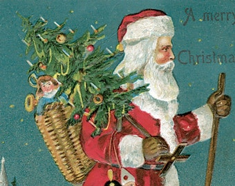 Hand-cut wooden jigsaw puzzle. VINTAGE SANTA & TREE. Vintage illustration. Wood, grandparent gift. Bella Puzzles.