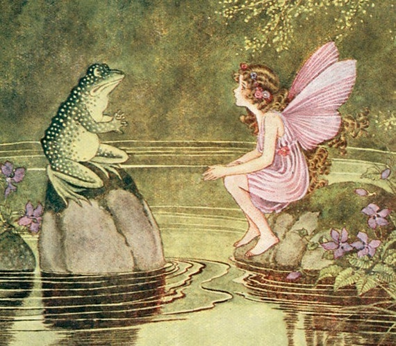 Wooden jigsaw puzzle. FROG and FAIRY. Outhwaite. Vintage illustration. Wood, handcut, handcrafted, collectible. Bella Puzzles.