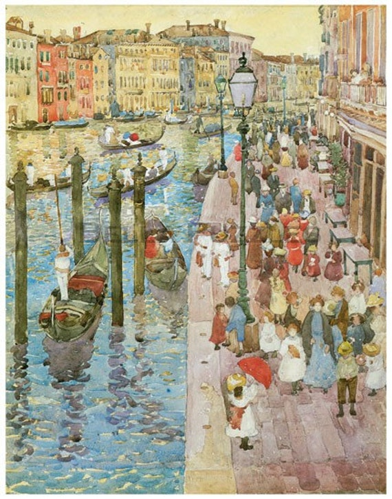 Wooden jigsaw puzzle. VENICE GRAND CANAL. Maurice Prendergast. Impressionist. Wood, handcut, handcrafted, collectible. Bella Puzzles.