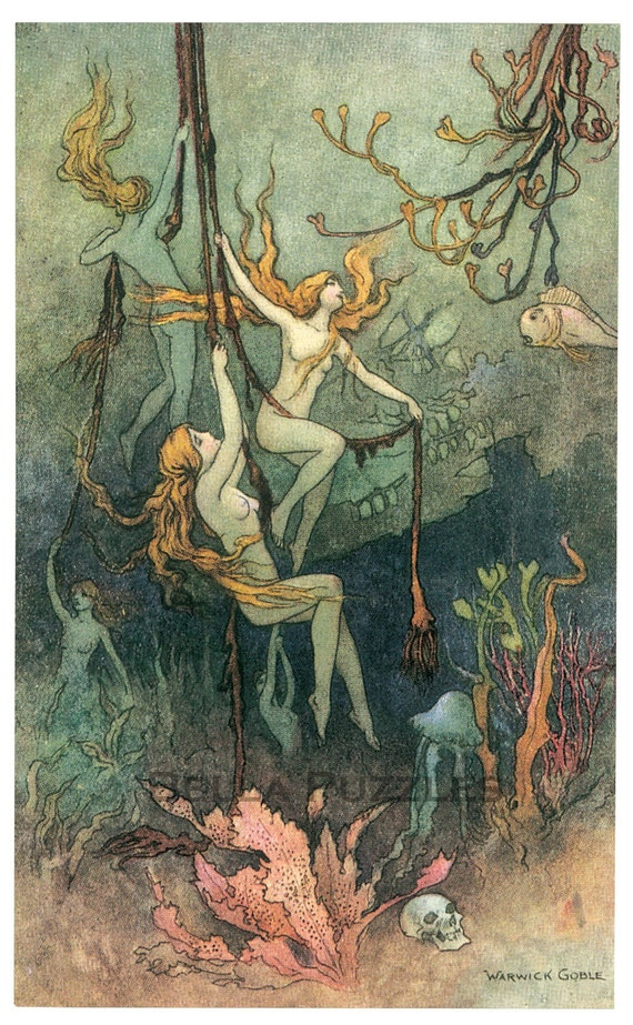 Wooden jigsaw puzzle. MERMAIDS in the DEEP. Warwick Goble. Vintage illustration. Wood, handcut, handcrafted, collectible. Bella Puzzles.