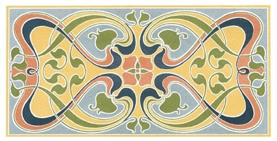 Wooden jigsaw puzzle. ART NOUVEAU TILES. L. Hellmuth. Three puzzles in one. Wood, handcut, handcrafted, collectible. Bella Puzzles.