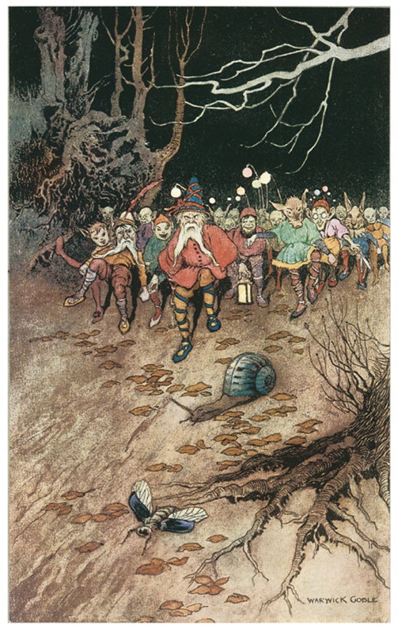 Wooden jigsaw puzzle. WOODLAND GNOMES. Warwick Goble. Vintage illustration. Wood, handcut, handcrafted, collectible. Bella Puzzles.