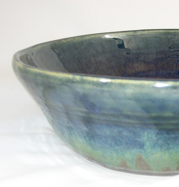Large Bowl- Dark Blue and Rainbow