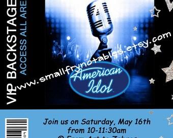 American Idol Party Backstage Pass Custom Printable Invitation by smallfrynotables