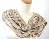 Beige Hand Knit Scarf - Cotton