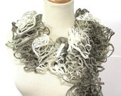 Hand Knit Scarf Scarf,  Taupe and Beige Scarf, Ruffle Scarf. Spring Scarf, Mothers Day