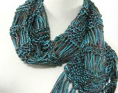Amazon Rain Forest Hand Knit Scarf - Turquoise and Copper