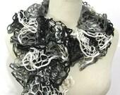 Black Gray White Ruffled Hand Knit Scarf