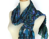 Blue Green Madnes Hand Knit Scarf - Great for Spring