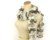 Hand Knit Ruffled Scarf  - Brown Tan Cream White