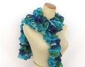 Ruffled Scarf - Turquoise Blue Aqua Green