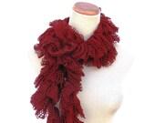 Sale Ruffle Scarf, Fashion Scarf, Red Scarf, Knit Scarf, Hand Knit Scarf, Women Scarf, Spring Scarf, Swirly Scarf
