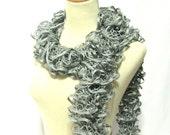 Gray Hand Knit Ruffle Scarf