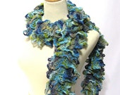 Knit Scarf, Ruffle Scarf, Blue Scarf, Hand Knit Scarf, Spring, Fiber Art, Knitted Scarf, Turquoise Scarf, Women Scarf, Fashion Scarf, Trendy