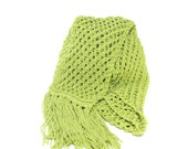 Lime Hand Knit Scarf - Great for Spring