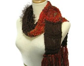 Sale Rustica Hand Knit Scarf  Reds and Brown