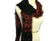 Sale Red 'n Black Scarf, Hand Knit Scarf, Knit Scarf, Fashion Scarf, Fiber Art, Women Scarf