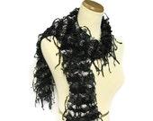 Sale Black Ruffled Scarf, Hand Knit Scarf, Knit Scarf, Ruffle Scarf, Black and Gray Scarf, Designer