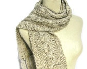 Oatmeal Knit Scarf, Cable Knit Scarf, Knit Scarf, Beige, Scarf, Winter scarf, Wool Scarf, Perfect for the Gentlemen