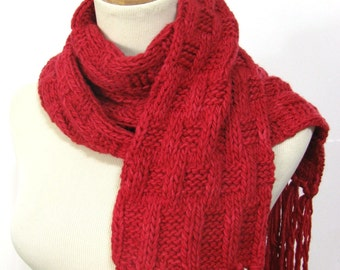 Red Scarf, Hand Knit Scarf Malabriego Scarf, Knit Scarf, Gift For Her
