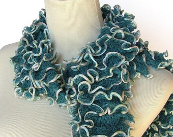 Hand Knit Scarf, Ruffle Scarf, Knit Scarf, Teal Scarf, Gift For Her, Fashion Accessory, Fiber Art, Womens Scarf,