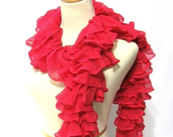 Sale Pink Ruffle Scarf, Knit Scarf, Women Accessories, Hand Knit Scarf, Gift For Her, Mothers Day, Spring Scarf