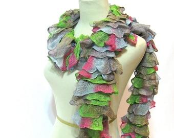 Hand Knit Scarf, Ruffle Scarf, Knit Scarf, Spring Scarf, Fashion Scarf, Multicolor Scarf, Fiber Art Scarf