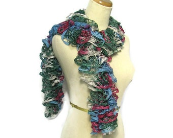Ruffle Scarf, Hand Knit Scarf, Blue Green Gray Pink, Holiday Scarf, Knit Scarf, Womens Scarf, Fashion Scarf, Winter