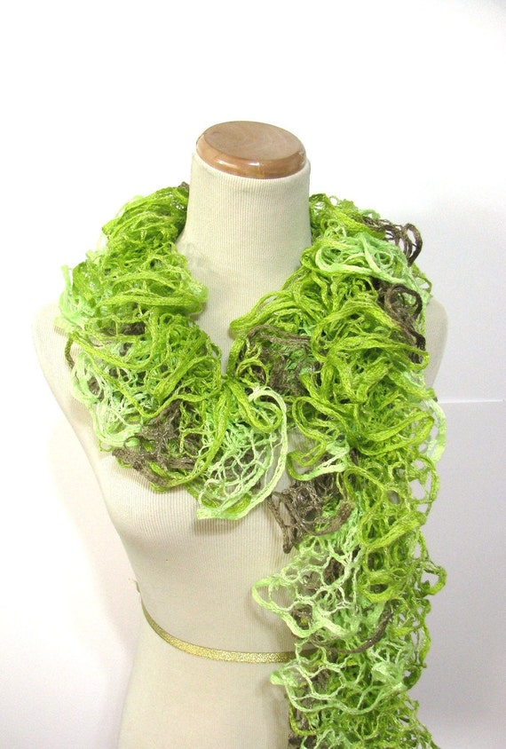 Neon Lime Green Ruffle Scarf - Hand Knit