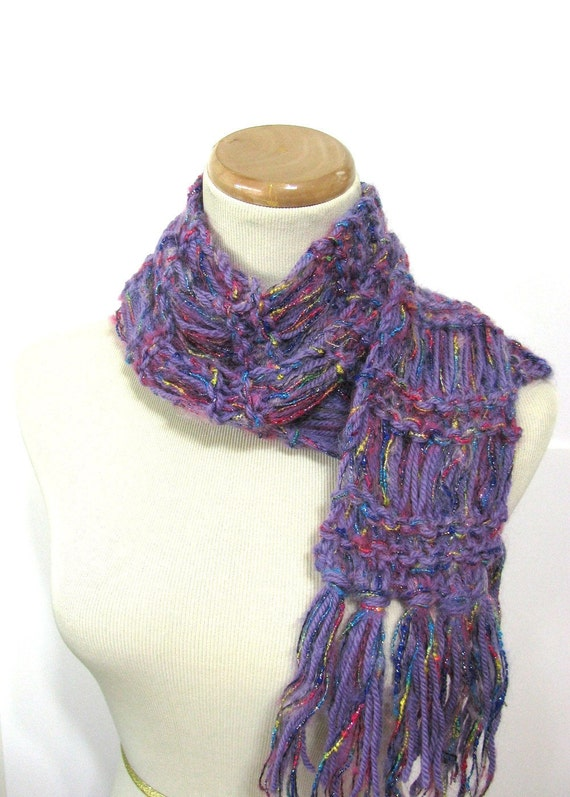 Purple Rainbow Hand Knit Scarf