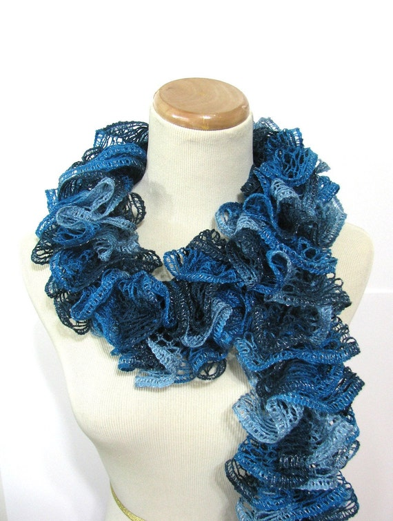 Hand Knit Ruffled Scarf -Turquoise Blue Teal Christmas