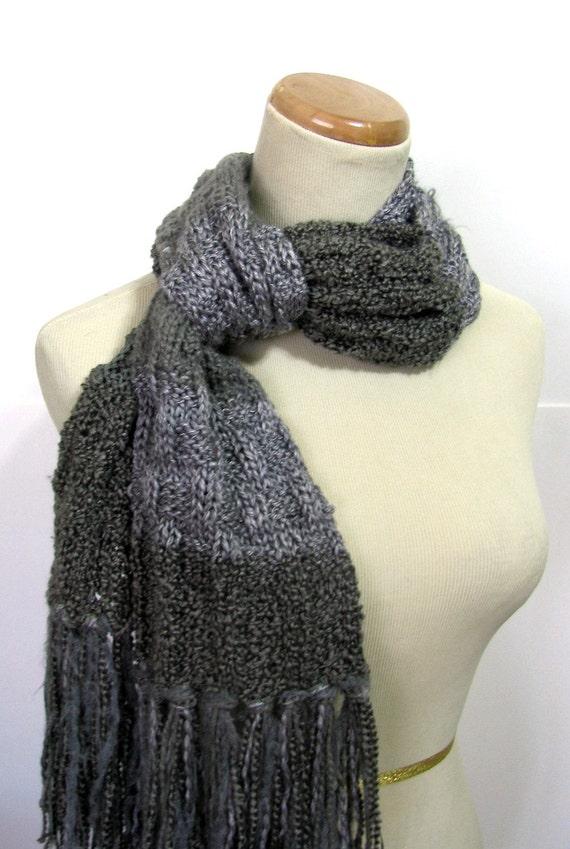 Granite Hand Knit Scarf - Varigated Greys