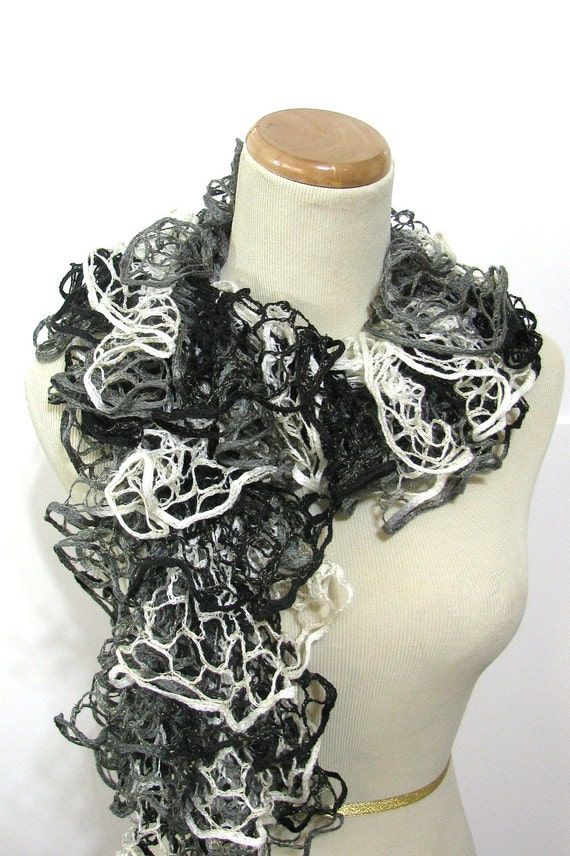 Black Gray White Ruffled Hand Knit Scarf