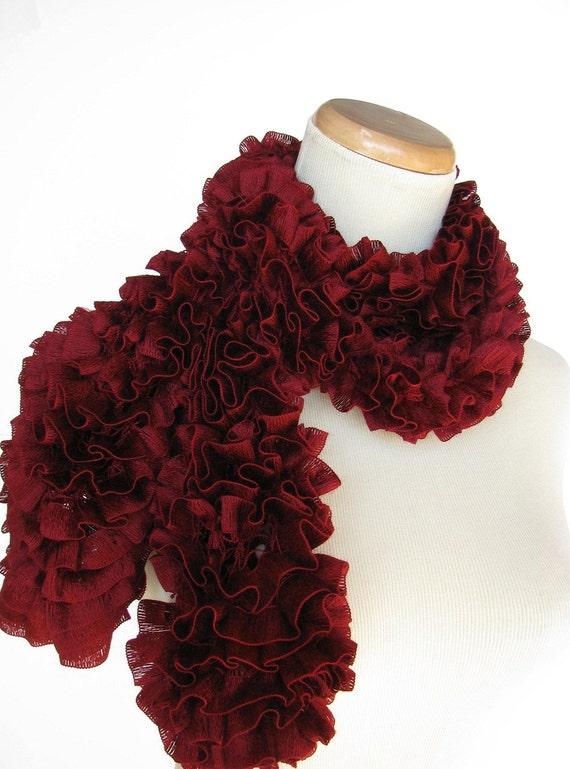 Burgundy Ruffled Scarf - Hand Knit
