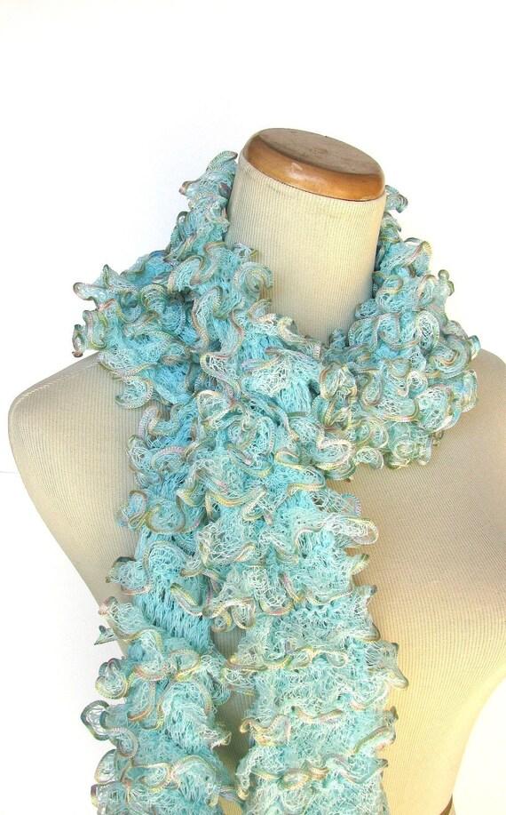Aqua Hand Knit Ruffled Scarf