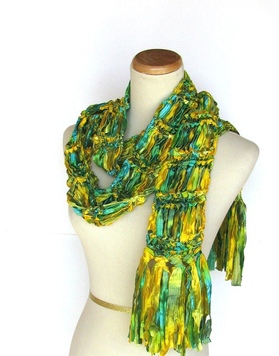 Mother's Day Emerald City Hand Knit Scarf - Green and Yellow