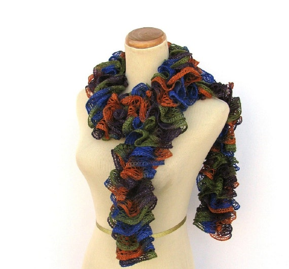 Hand Knit Ruffled Scarf - Green Orange Purple Blue