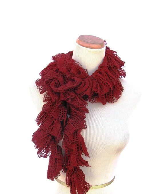 Sale Ruffle Scarf, Fashion Scarf, Red Scarf, Knit Scarf, Hand Knit Scarf, Women Scarf, Spring Scarf, Swirly Scarf, Mother's Day Scarf