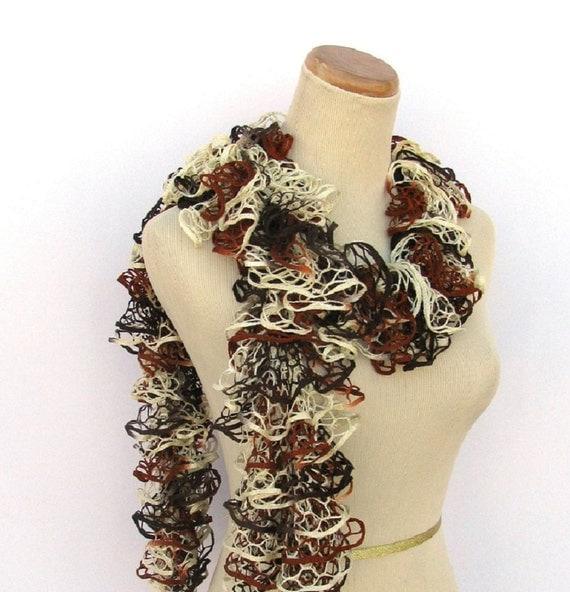 Hand Knit Ruffled Scarf - Brown Rust Tan Cream