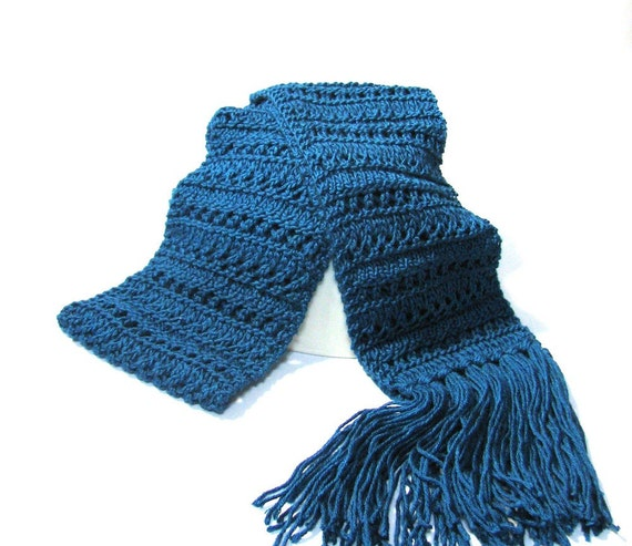 Knit Scarf, Peacock Blue Scarf, Gift For Her, Fashion Accessory, Hand Knit Scarf, Lacy Scarf, Turquoise Scarf, Winter Scarf, Womens Scarf,