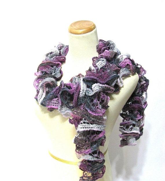 Ruffle Scarf, Knit Scarf, Hand Knit Scarf, Fashion Scarf, Purple Scarf, Lacy Scarf, Womens Scarf, Winter Scarf, Trendy Scarf,Fiber Art